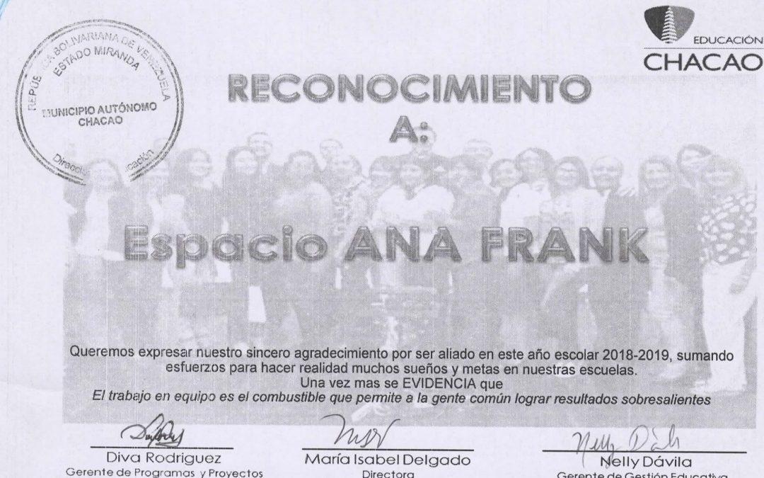 Dirección de Educación del municipio Chacao otorga reconocimiento a programa educativo de Espacio Anna Frank